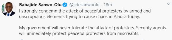 Gov Sanwo-Olu condemns attack on #EndSARS protesters in Alausa
