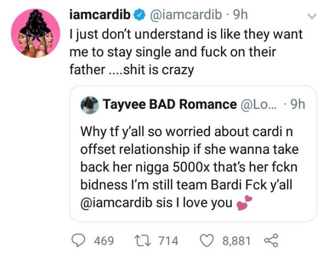 Cardi B responds to those saying she