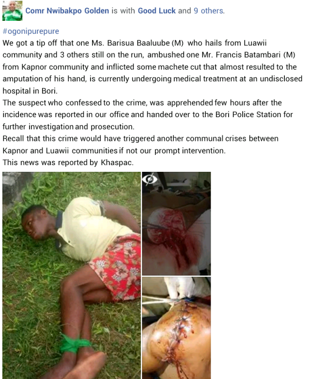 Scary pictures of man brutally ambushed in River State