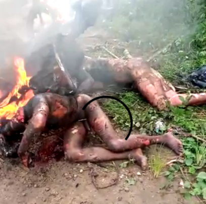 Angry mob beheads, sets five suspected robbers ablaze after beheading them  in Cross River state (graphic photos)