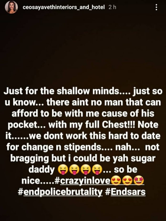 Ehi Ogbebor shares photo of her mystery man, says she is crazy in love