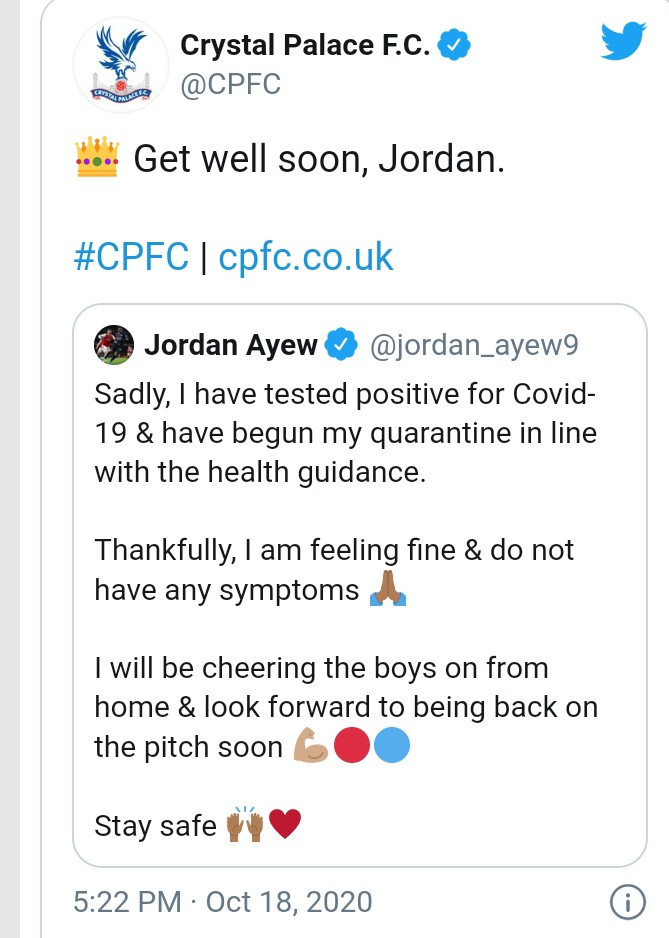 Footballer Jordan Ayew tests positive for coronavirus