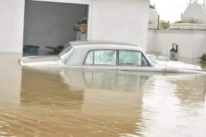 Nigerians react to photos of Delta State Deputy Speaker?s mansion submerged in flood (photos)