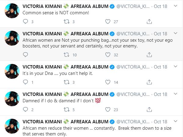 I have never felt safe or protected by African men ? Victoria Kimani