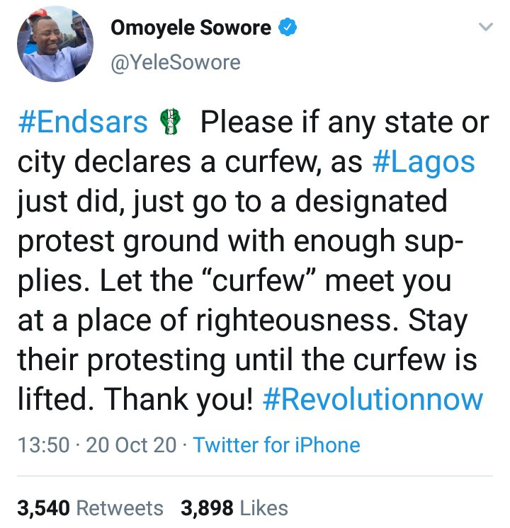 Yele Sowore advises End SARS protesters on what to do if curfew is declared in their states