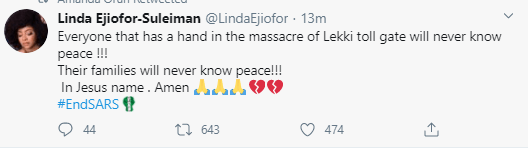 Banky W, Amnesty International, Linda Ejiofor and other Nigerians reacts after Lekki #EndSARS protesters were shot at by security operatives