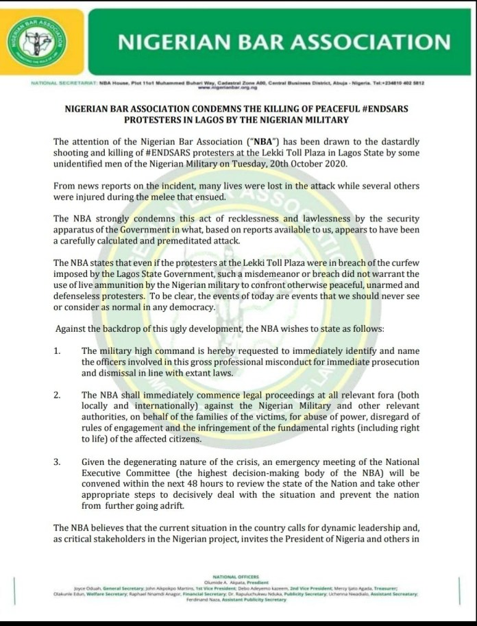 Nigerian Bar Association will commence legal proceedings locally and internationally against Nigerian military and other relevant authorities over Lekki massacre - Olumide Akpata
