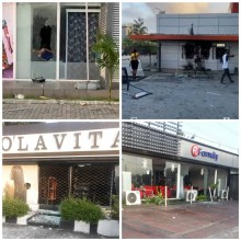 Hoodlums vandalise and loot shops in Lekki phase 1 after the shooting at Lekki tollgate (videos)