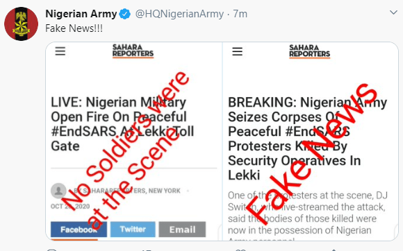 Governor Sanwo-Olu confirms deployment of Army to the venue of #Endsars protest at Lekki tollgate (video)
