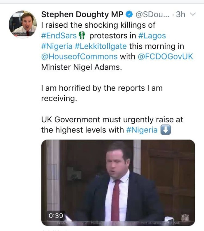 UK parliament condemns killing of #EndSARS protesters at Lekki toll gate (video)