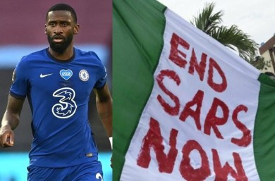 Chelsea football star, Antonio Rüdiger reacts to Lekki tollgate gun attack
