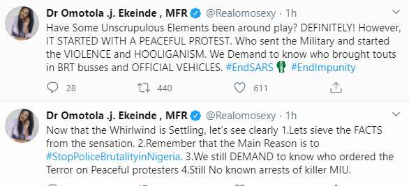 If people died during the Lekki toll assault, let their people speak out and if there were no deaths then enough with the sensationalization -Omotola Jalade-Ekeinde