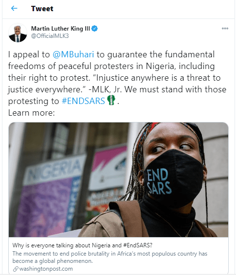 ?Injustice anywhere is a threat to justice everywhere? -?Martin Luther King Jr III appeals?to President Buhari to?guarantee the freedoms of peaceful protesters in Nigeria?