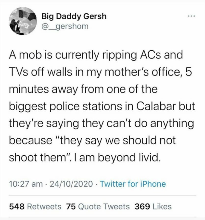 Man who defended looters cries out as his mother becomes a victim
