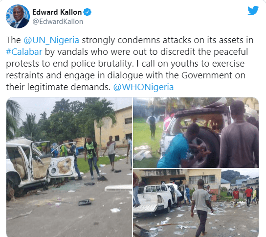 Our assets in Calabar have been vandalized - UN