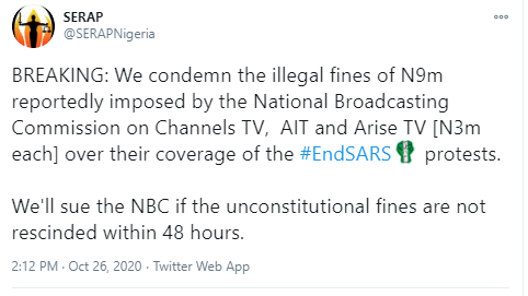 """SERAP threatens to sue NBC for imposing """"illegal fines of N9m"""" on Channels TV, AIT, and Arise TV over coverage of #EndSARS protests."""