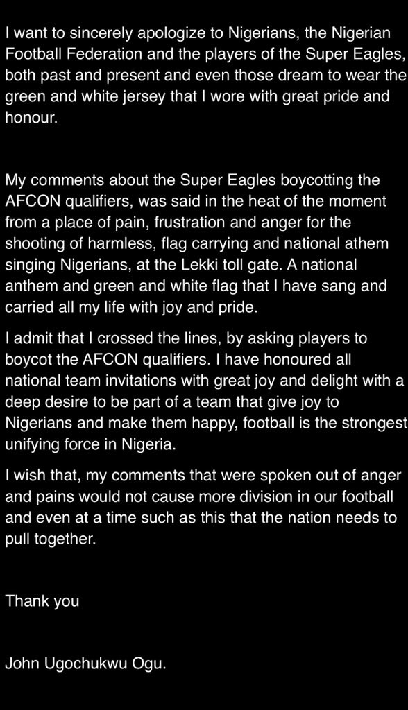 Lekki shooting: Footballer John Ogu apologizes for asking Super Eagles players to boycott AFCON qualifiers