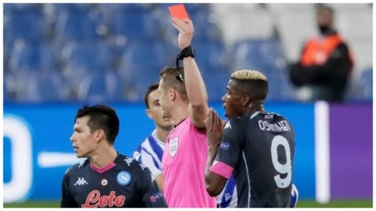 Victor Osimhen receives first red card of his football career