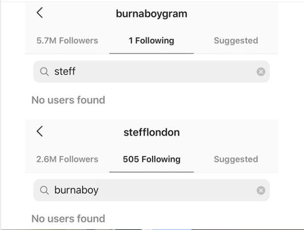 Burna boy and Stefflon Don unfollow each other on Instagram