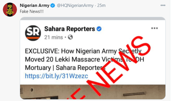 Army denies moving End Sars Protesters dead bodies from the military hospital
