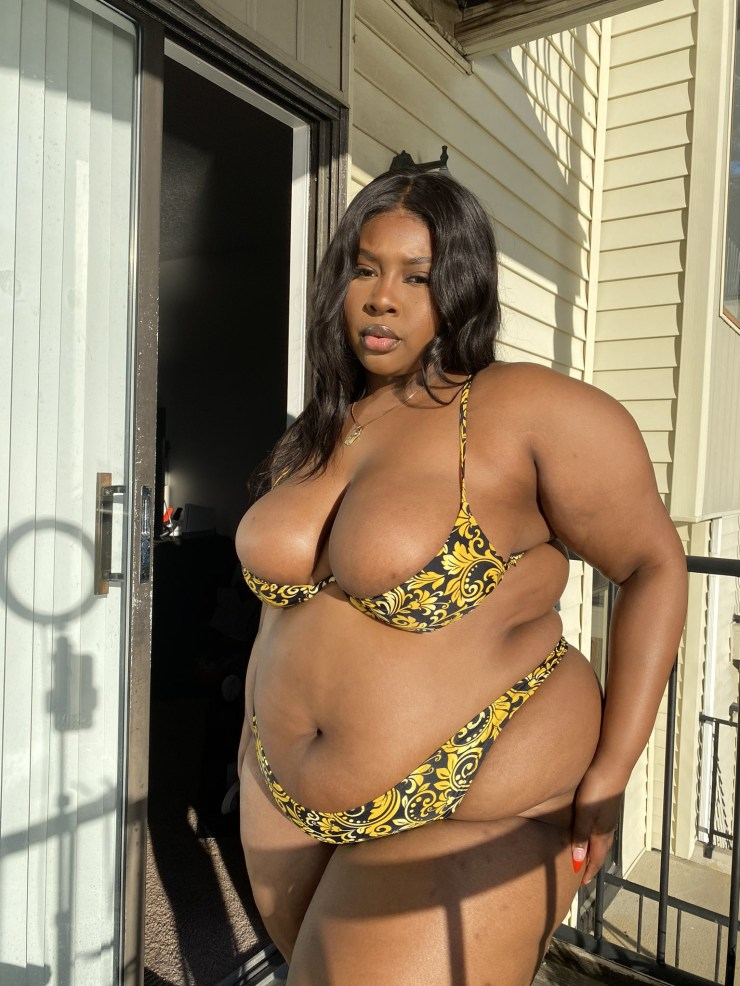 BBW gets attention of Twitter users after showing off her curves in a skimpy bikini