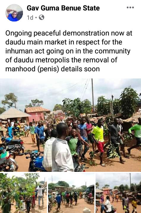 """Angry youths protest over mysterious """"disappearance of manhood"""" in Benue community"""