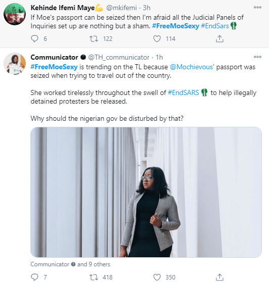 Outrage as #EndSARS frontliner is prevented from leaving the country and her passport seized; Oby Ezekwesili, Lala Akindoju and others react