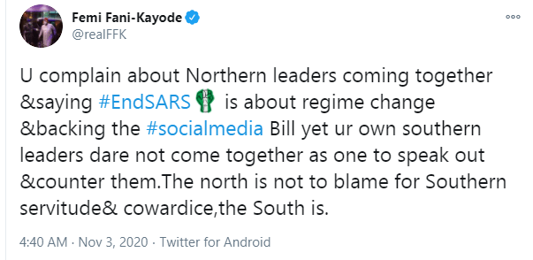 The north is not to blame for southern servitude and cowardice - FFK speaks on northern leaders backing the social media Bill