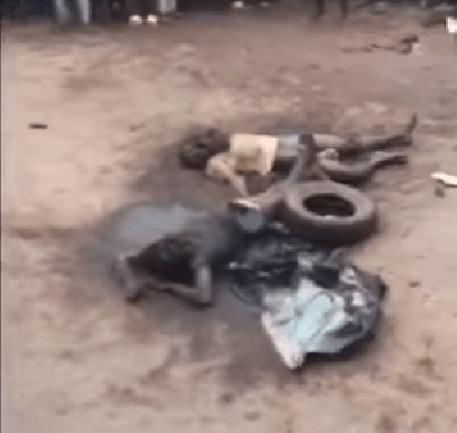 Mob sets two suspected robbers ablaze in Edo (graphic photos)