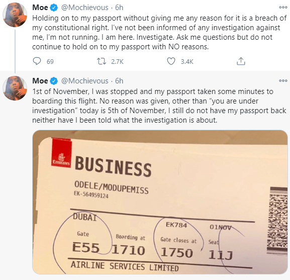 ?Five days after, my passport has not been released?- #EndSARS promoter, Modupe Odele says