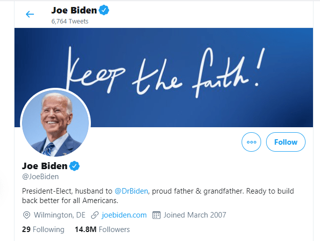 "Joe Biden reacts to his election as the 46th President of the United States, changes Twitter bio to ""President-Elect"""