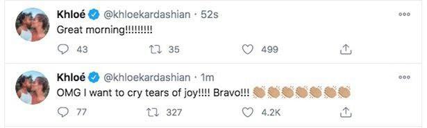 """5fa731e6dd9bb """"Khloe didn't vote for Kanye"""" Twitter users react as Khloe Kardashian celebrates Joe Biden's victory over Trump and Kanye West"""