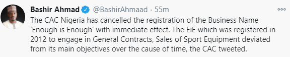 CAC Nigeria cancels the registration of the Business Name ?Enough is Enough?