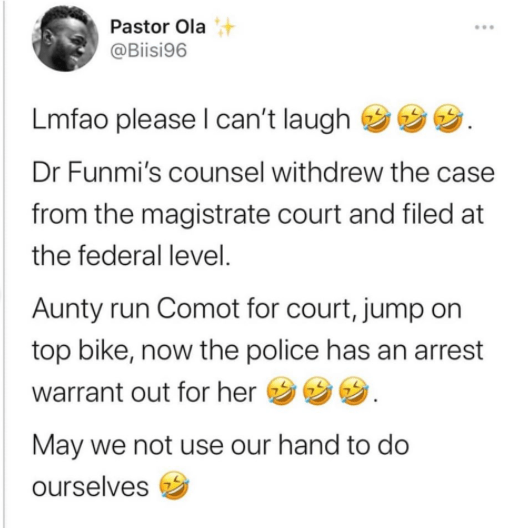 Rape allegation: Dr Bola allegedly flees on bike after a defamation lawsuit was refiled on behalf of Dr Olufunmilayo against her before a federal high court