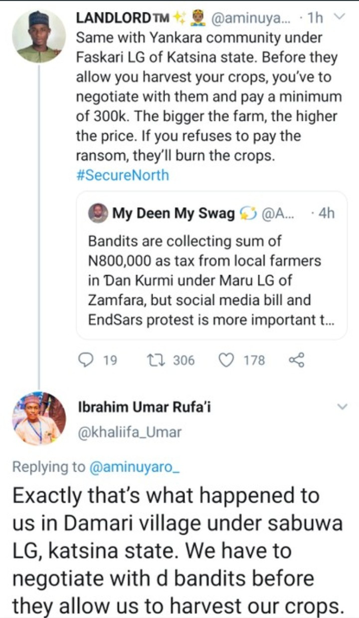 Bandits demand Zamfara farmers pay harvest fee to them before they can harvest their farm produce