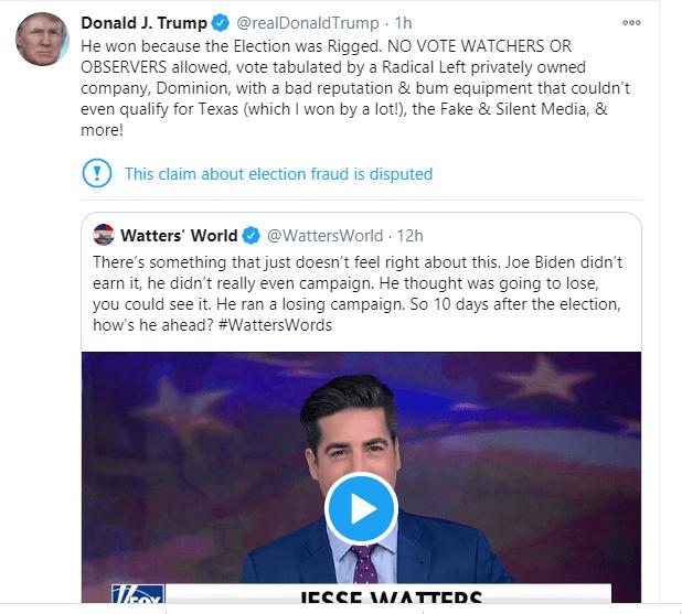 """Présidentielle américaine: Trump reconnaît pour la première fois que Biden a gagné, mais dit que l'élection a été """"truquée"""""""