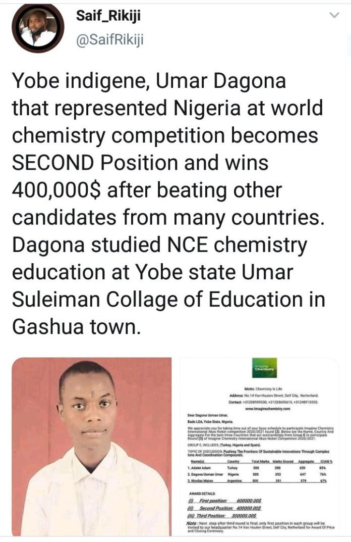 Yobe indigene, Umar Dagona wins $400,000 after finishing second at world chemistry competition