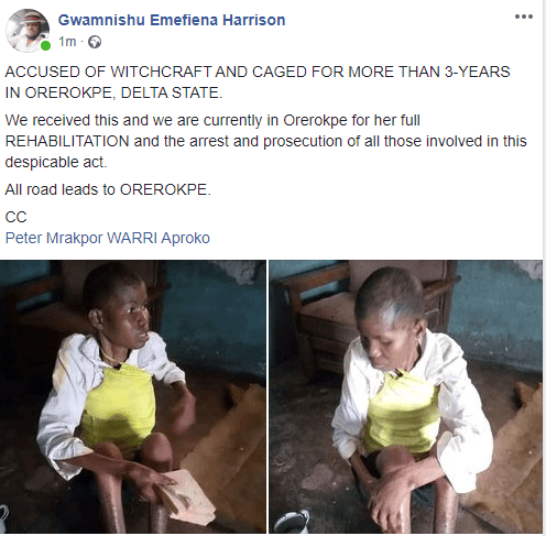 Lady accused of witchcraft and allegedly caged for three years by her husband and his people rescued in Delta (photos)
