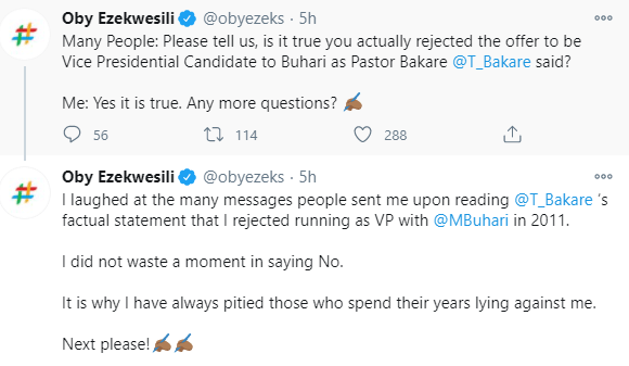 I rejected an offer to be President Buhari