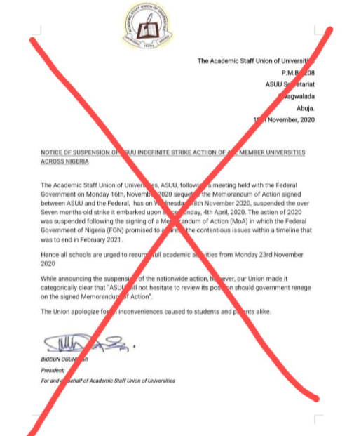 ASUU denies suspending strike and reveals that FG has said it will resume meetings with them