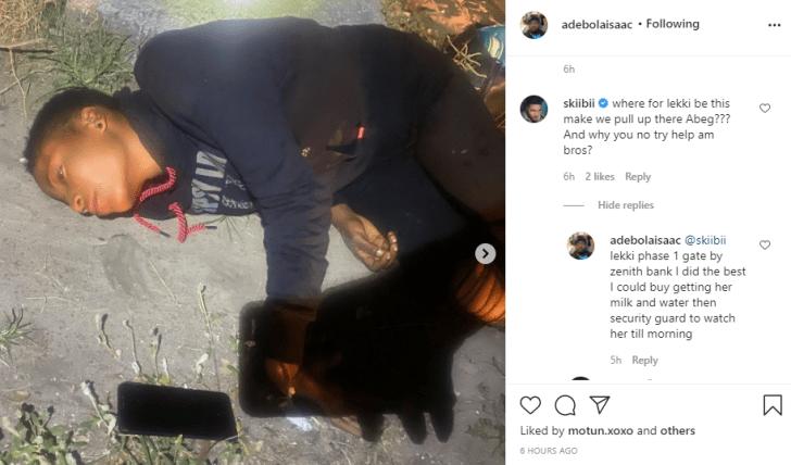 Lady found lying helplessly by the roadside in Lekki (video)