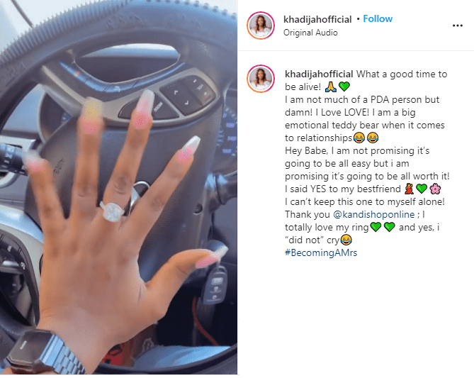 ?I said yes to my best friend - Nollywood actress, Khadijat Ayoade announces her engagement?