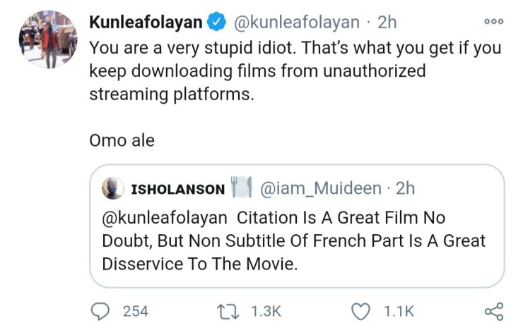 """""""You are a very stupid idiot. Omo ale."""" Kunle Afolayan slams follower who asked why his latest movie"""