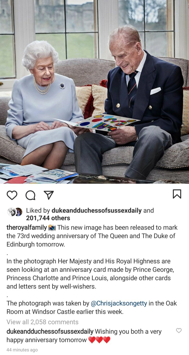 Royal family releases new photo of Queen Elizabeth and Prince Philip to mark their 73rd wedding anniversary