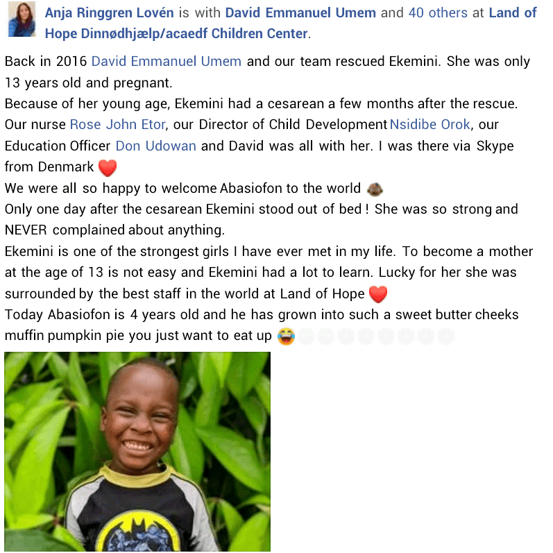 """She is one of the strongest girls I have ever met"" - Danish aid worker recalls how 13-year-old pregnant girl was rescued in Akwa Ibom as her son turns 4"