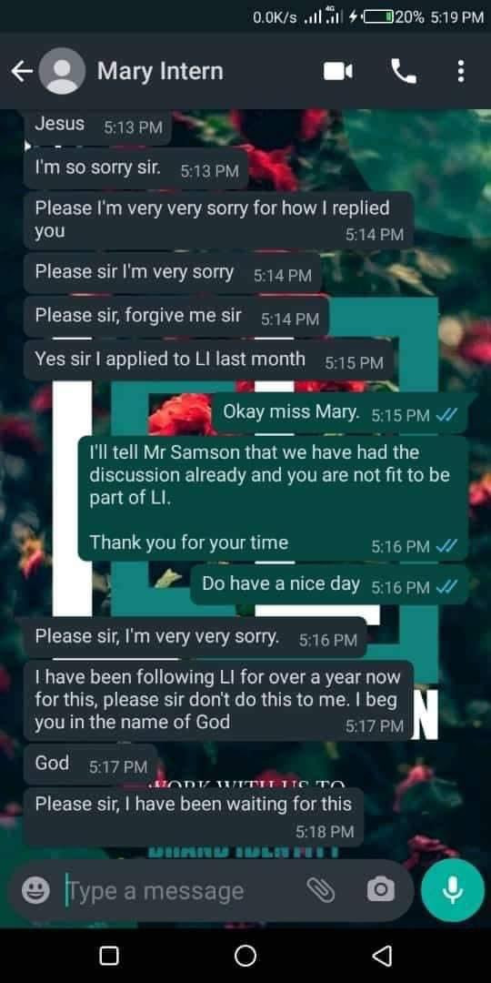 Argument ensues as HR disqualifies a job applicant because of her response to his WhatsApp message