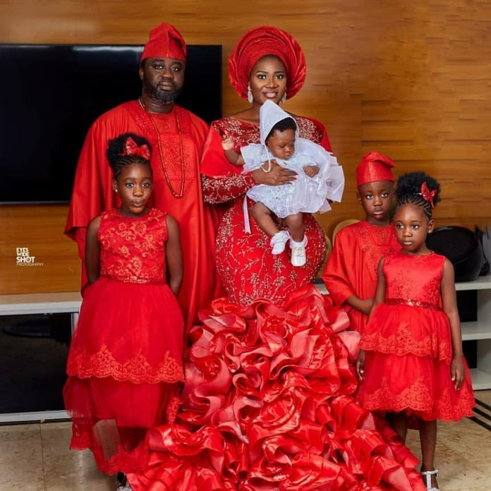 Mercy Johnson-Okojie and hubby dedicate their fourth child in church  (photos)