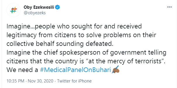 Oby Ezekwesili begins online campaign for Buhari to undergo a medical test