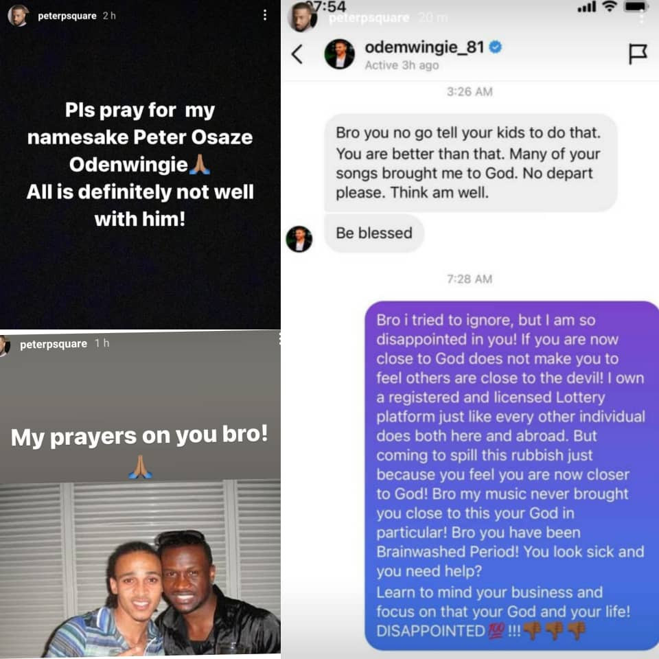 Peter Okoye and Osaze Odemwingie make peace after the footballer made a video apologizing to the singer while explaining why he condemned his betting business