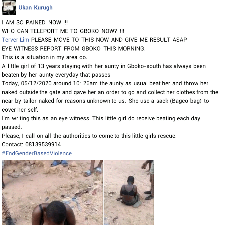 13-year-old girl allegedly beaten up by her aunt in Benue and thrown out naked into the street